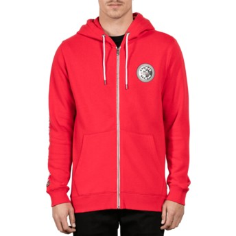 Volcom True Red Burger Red Zip Through Hoodie Sweatshirt