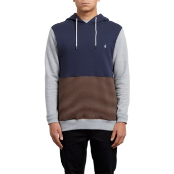 Volcom Hazelnut 3ZY Brown and Navy Blue Hoodie Sweatshirt