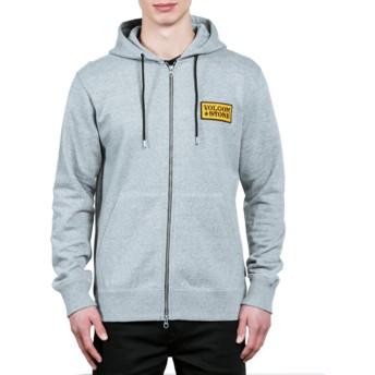 Volcom Grey Shop Grey Zip Through Hoodie Sweatshirt