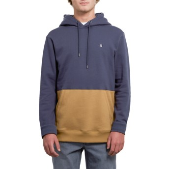 Volcom Midnight Blue Single Stone Division Brown and Navy Blue Hoodie Sweatshirt