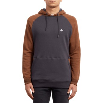 Volcom Hazelnut Homak Brown and Navy Blue Hoodie Sweatshirt