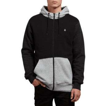 Volcom Black Combo Single Stone Black and Grey Zip Through Hoodie Sweatshirt