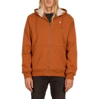 Volcom Copper Single Stone Brown Zip Through Hoodie Sweatshirt