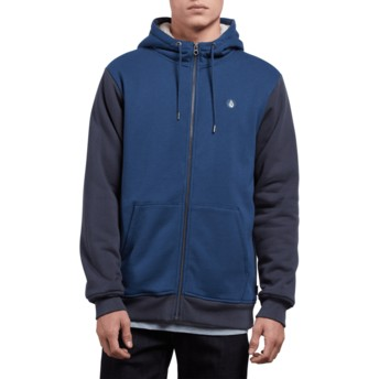 Volcom Matured Blue Single Stone Blue Zip Through Hoodie Sweatshirt