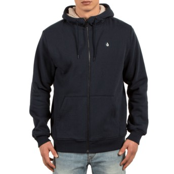 Volcom Navy Single Stone Navy Blue Zip Through Hoodie Sweatshirt