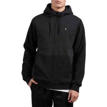 Volcom Sulfur Black Single Stone Black Zip Through Hoodie Sweatshirt