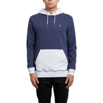 Volcom Deep Blue Single Stone Division Blue and White Hoodie Sweatshirt