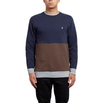Volcom Hazelnut 3ZY Brown and Navy Blue Sweatshirt