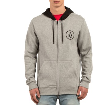 Volcom Grey Stone Grey Zip Through Hoodie Sweatshirt