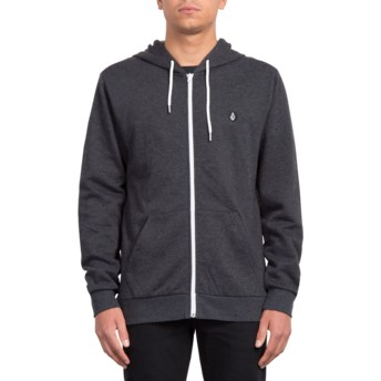 Volcom Heather Black Iconic Black Zip Through Hoodie Sweatshirt