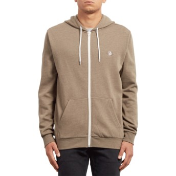 Volcom Mushroom Iconic Grey Zip Through Hoodie Sweatshirt