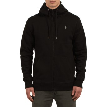 Volcom Black Vsm Empire Black Zip Through Hoodie Sweatshirt