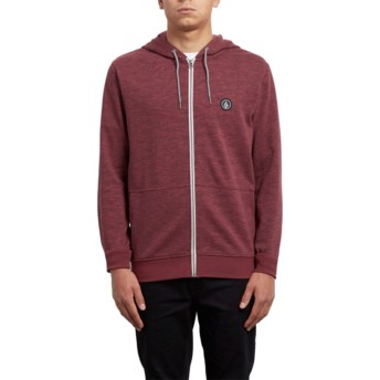 Volcom Crimson Litewarp Red Zip Through Hoodie Sweatshirt