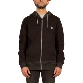Volcom Pockets Black Backronym Black Zip Through Hoodie Sweatshirt