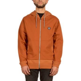 Volcom Copper Backronym Brown Zip Through Hoodie Sweatshirt