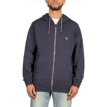 Volcom Navy Backronym Navy Blue Zip Through Hoodie Sweatshirt