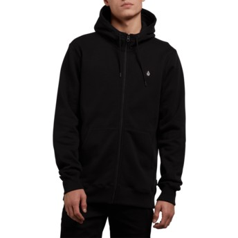 Volcom Black Single Stone Black Zip Through Hoodie Sweatshirt