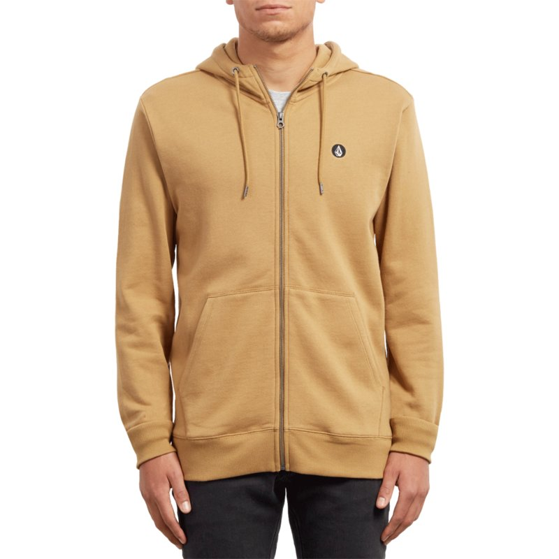 0170c38d Volcom Old Gold Single Stone Yellow Zip Through Hoodie Sweatshirt