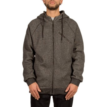 Volcom Black Static Stone Black Zip Through Hoodie Sweatshirt