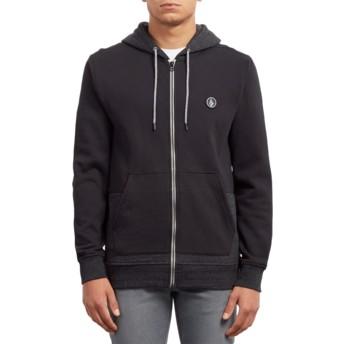 Volcom Black Backronym Black Zip Through Hoodie Sweatshirt