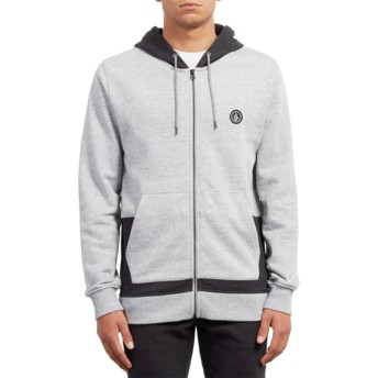 Volcom Grey Backronym Grey Zip Through Hoodie Sweatshirt