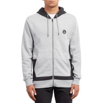 Volcom Grey Backronym Grey Zip Through Hoodie Sweatshirt