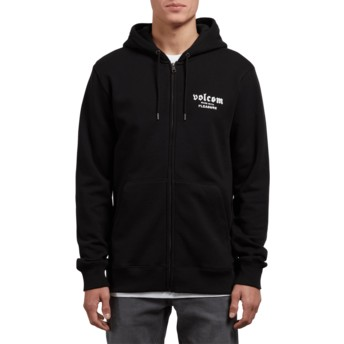 Volcom Black Supply Stone Black Zip Through Hoodie Sweatshirt