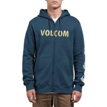 Volcom Navy Green Supply Stone Blue Zip Through Hoodie Sweatshirt