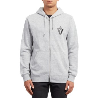 Volcom Storm Supply Stone Grey Zip Through Hoodie Sweatshirt