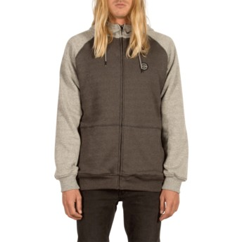 Volcom Grey Homak Lined Grey Zip Through Hoodie Sweatshirt
