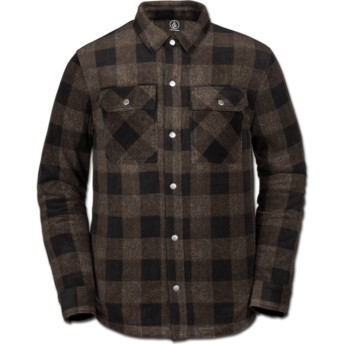 Volcom Old Gold Bower Polar Brown Long Sleeve Shirt