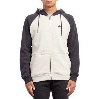 Volcom Black Homak Lined Black and White Zip Through Hoodie Sweatshirt