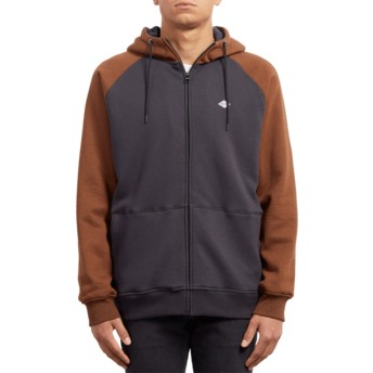 Volcom Hazelnut Homak Lined Black and Brown Zip Through Hoodie Sweatshirt