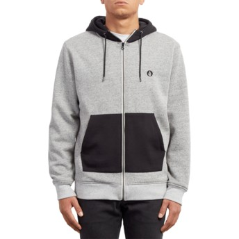 Volcom Heather Grey Factual Lined Grey Zip Through Hoodie Sweatshirt