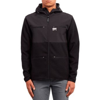 Volcom Black Doked Black Zip Through Hoodie Sweatshirt