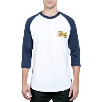 Volcom White Wreckler Blue and White 3/4 Sleeve T-Shirt