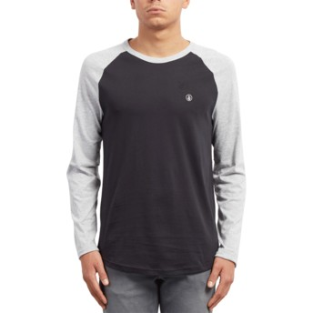 Volcom Heather Grey Pen Black and Grey Long Sleeve T-Shirt