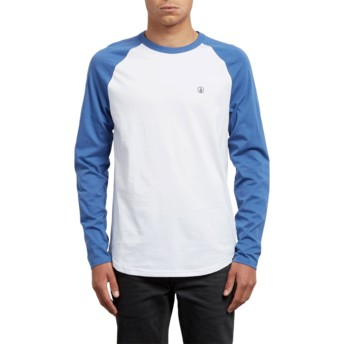 Volcom Blue Drift Pen Blue and White Long Sleeve T-Shirt