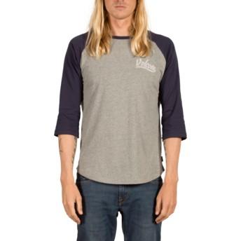 Volcom Indigo Swift Grey and Navy Blue 3/4 Sleeve T-Shirt