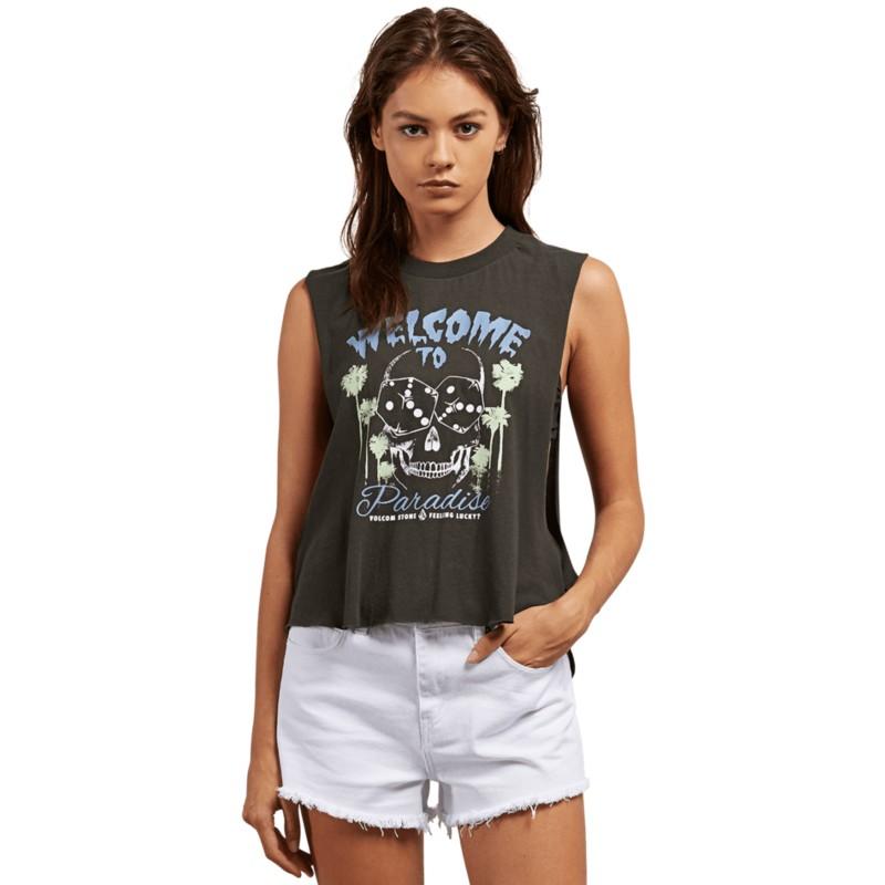 a8ebe528b1c17a Volcom Vintage Black Magnetic Feels Black Sleeveless T-Shirt  Shop ...
