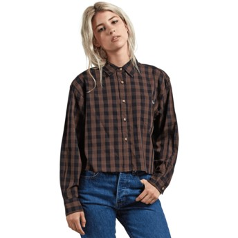 Volcom Dark Chocolate Dare 2 Bloom Brown Long Sleeve Shirt
