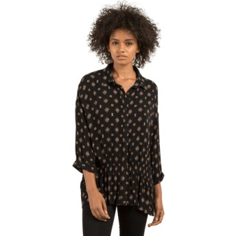 Volcom Black Champain Trail Black Long Sleeve Blouse