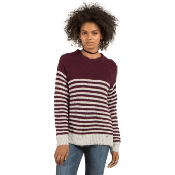 Volcom Plum Cold Daze Grey and Maroon Sweater