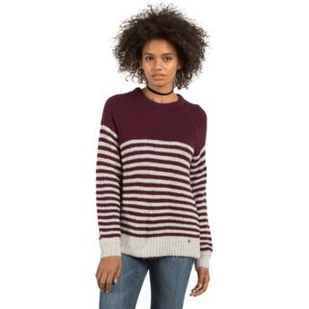 Volcom Plum Cold Daze Grey and Maroon Sweater