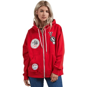Volcom Rad Red Travel Ban Red Zip Through Hoodie Sweatshirt