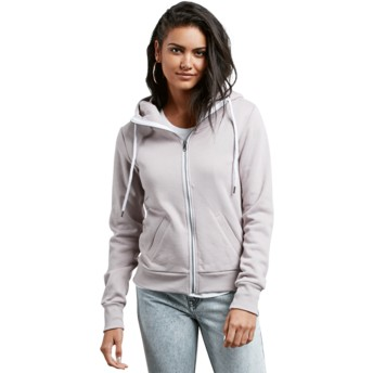 Volcom Steel Purple Walk On By Grey Zip Through Hoodie Sweatshirt