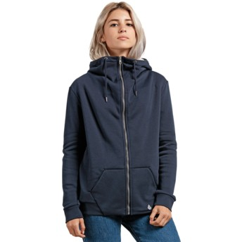 Volcom Sea Navy Walk On By Sherpa Navy Blue Zip Through Hoodie Sweatshirt