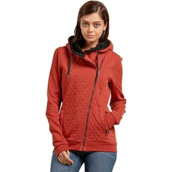 Volcom Copper Slate Ins Red Zip Through Hoodie Sweatshirt