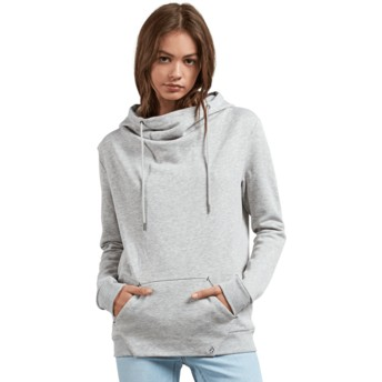 Volcom Heather Grey Walk On By High Neck Grey Hoodie Sweatshirt