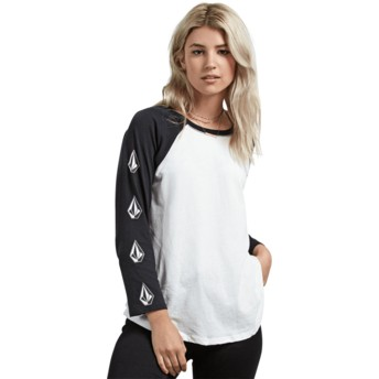 Volcom White Pop Rocket Black and White 3/4 Sleeve T-Shirt